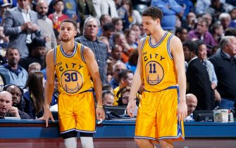 INDIANAPOLIS, IN - DECEMBER 8: Stephen Curry #30 and Klay Thompson #11 of the Golden State Warriors look on against the Indiana Pacers during a game at Bankers Life Fieldhouse on December 8, 2015 in Indianapolis, Indiana. The Warriors defeated the Pacers 131-123. NOTE TO USER: User expressly acknowledges and agrees that, by downloading and or using the photograph, User is consenting to the terms and conditions of the Getty Images License Agreement. (Photo by Joe Robbins/Getty Images)