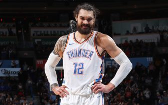 OKLAHOMA CITY, OK- DECEMBER 17: Steven Adams #12 of the Oklahoma City Thunder smiles during the game against the Chicago Bulls on December 17, 2018 at Chesapeake Energy Arena in Oklahoma City, Oklahoma. NOTE TO USER: User expressly acknowledges and agrees that, by downloading and or using this photograph, User is consenting to the terms and conditions of the Getty Images License Agreement. Mandatory Copyright Notice: Copyright 2018 NBAE (Photo by Zach Beeker/NBAE via Getty Images)