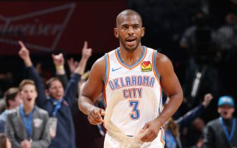 OKLAHOMA CITY, OK- DECEMBER 16: Chris Paul #3 of the Oklahoma City Thunder after making a clutch 4th quarter three point basket during a game against the Chicago Bulls on December 16, 2019 at Chesapeake Energy Arena in Oklahoma City, Oklahoma. NOTE TO USER: User expressly acknowledges and agrees that, by downloading and or using this photograph, User is consenting to the terms and conditions of the Getty Images License Agreement. Mandatory Copyright Notice: Copyright 2019 NBAE (Photo by Zach Beeker/NBAE via Getty Images)