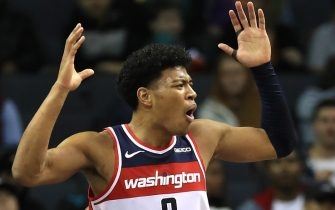 CHARLOTTE, NORTH CAROLINA - DECEMBER 10: Rui Hachimura #8 of the Washington Wizards reacts after a call against the Charlotte Hornets during their game at Spectrum Center on December 10, 2019 in Charlotte, North Carolina. NOTE TO USER: User expressly acknowledges and agrees that, by downloading and or using this photograph, User is consenting to the terms and conditions of the Getty Images License Agreement. (Photo by Streeter Lecka/Getty Images)