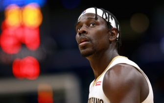 NEW ORLEANS, LOUISIANA - DECEMBER 15: Jrue Holiday #11 of the New Orleans Pelicans stands on the court during a NBA game against the Orlando Magic at Smoothie King Center on December 15, 2019 in New Orleans, Louisiana. NOTE TO USER: User expressly acknowledges and agrees that, by downloading and or using this photograph, User is consenting to the terms and conditions of the Getty Images License Agreement. (Photo by Sean Gardner/Getty Images)