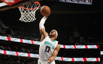 CHARLOTTE, NC - DECEMBER 17: Miles Bridges #0 of the Charlotte Hornets shoots the ball against the Sacramento Kings on December 17, 2019 at Spectrum Center in Charlotte, North Carolina. NOTE TO USER: User expressly acknowledges and agrees that, by downloading and or using this photograph, User is consenting to the terms and conditions of the Getty Images License Agreement.  Mandatory Copyright Notice:  Copyright 2019 NBAE (Photo by Kent Smith/NBAE via Getty Images)