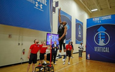 CHICAGO, IL - MAY 17:  Austin Wiley #75 participates in the vertical jump during the NBA Draft Combine Day 1 at the Quest Multisport Center on May 17, 2018 in Chicago, Illinois. NOTE TO USER: User expressly acknowledges and agrees that, by downloading and/or using this Photograph, user is consenting to the terms and conditions of the Getty Images License Agreement. Mandatory Copyright Notice: Copyright 2018 NBAE (Photo by Jeff Haynes/NBAE via Getty Images)