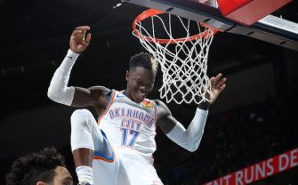 OKLAHOMA CITY, OK- DECEMBER 18: Dennis Schroder #17 of the Oklahoma City Thunder reacts to a play during the game against the Memphis Grizzlies on December 18, 2019 at Chesapeake Energy Arena in Oklahoma City, Oklahoma. NOTE TO USER: User expressly acknowledges and agrees that, by downloading and or using this photograph, User is consenting to the terms and conditions of the Getty Images License Agreement. Mandatory Copyright Notice: Copyright 2019 NBAE (Photo by Zach Beeker/NBAE via Getty Images)