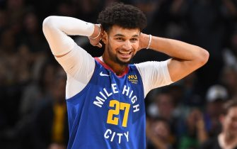 DENVER, CO - NOVEMBER 22: Jamal Murray #27 of the Denver Nuggets smiles during a game against the Boston Celtics on November 22, 2019 at the Pepsi Center in Denver, Colorado. NOTE TO USER: User expressly acknowledges and agrees that, by downloading and/or using this Photograph, user is consenting to the terms and conditions of the Getty Images License Agreement. Mandatory Copyright Notice: Copyright 2019 NBAE (Photo by Garrett Ellwood/NBAE via Getty Images)