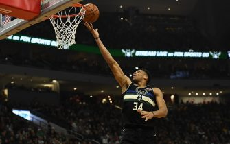 MILWAUKEE, WISCONSIN - DECEMBER 19:  Giannis Antetokounmpo #34 of the Milwaukee Bucks drives to the basket during the first half of a game against the Los Angeles Lakers at Fiserv Forum on December 19, 2019 in Milwaukee, Wisconsin. NOTE TO USER: User expressly acknowledges and agrees that, by downloading and or using this photograph, User is consenting to the terms and conditions of the Getty Images License Agreement. (Photo by Stacy Revere/Getty Images)