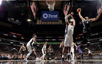 SAN ANTONIO, TX - DECEMBER 19: Spencer Dinwiddie #8 of the Brooklyn Nets shoots the ball against the San Antonio Spurs on December 19, 2019 at the AT&T Center in San Antonio, Texas. NOTE TO USER: User expressly acknowledges and agrees that, by downloading and or using this photograph, user is consenting to the terms and conditions of the Getty Images License Agreement. Mandatory Copyright Notice: Copyright 2019 NBAE (Photos by Logan Riely/NBAE via Getty Images)