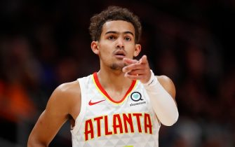 ATLANTA, GA - DECEMBER 19: Trae Young #11 of the Atlanta Hawks reacts during the second half of an NBA game against the Utah Jazz at State Farm Arena on December 19, 2019 in Atlanta, Georgia. NOTE TO USER: User expressly acknowledges and agrees that, by downloading and/or using this photograph, user is consenting to the terms and conditions of the Getty Images License Agreement. (Photo by Todd Kirkland/Getty Images)