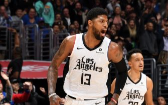LOS ANGELES, CA - DECEMBER 19: Paul George #13 of the LA Clippers reacts to a play during the game against the Houston Rockets on December 19, 2019 at STAPLES Center in Los Angeles, California. NOTE TO USER: User expressly acknowledges and agrees that, by downloading and/or using this Photograph, user is consenting to the terms and conditions of the Getty Images License Agreement. Mandatory Copyright Notice: Copyright 2019 NBAE (Photo by Andrew D. Bernstein/NBAE via Getty Images)