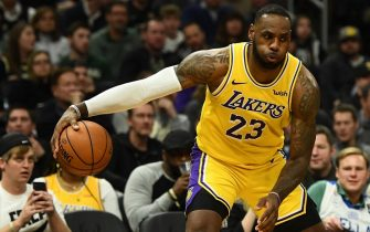 MILWAUKEE, WISCONSIN - DECEMBER 19:  LeBron James #23 of the Los Angeles Lakers handles the ball during a game against the Milwaukee Bucks at Fiserv Forum on December 19, 2019 in Milwaukee, Wisconsin. NOTE TO USER: User expressly acknowledges and agrees that, by downloading and or using this photograph, User is consenting to the terms and conditions of the Getty Images License Agreement. (Photo by Stacy Revere/Getty Images)