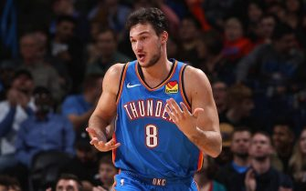 OKLAHOMA CITY, OK- DECEMBER 20: Danilo Gallinari #8 of the Oklahoma City Thunder reacts to play against the Phoenix Suns on December 20, 2019 at Chesapeake Energy Arena in Oklahoma City, Oklahoma. NOTE TO USER: User expressly acknowledges and agrees that, by downloading and or using this photograph, User is consenting to the terms and conditions of the Getty Images License Agreement. Mandatory Copyright Notice: Copyright 2019 NBAE (Photo by Zach Beeker/NBAE via Getty Images)