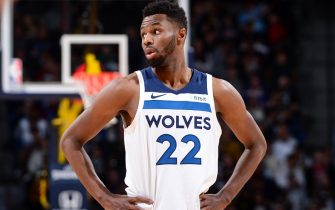 DENVER, CO - DECEMBER 20: Andrew Wiggins #22 of the Minnesota Timberwolves looks on during the game against the Denver Nuggets on December 20, 2019 at the Pepsi Center in Denver, Colorado. NOTE TO USER: User expressly acknowledges and agrees that, by downloading and/or using this Photograph, user is consenting to the terms and conditions of the Getty Images License Agreement. Mandatory Copyright Notice: Copyright 2019 NBAE (Photo by Bart Young/NBAE via Getty Images)