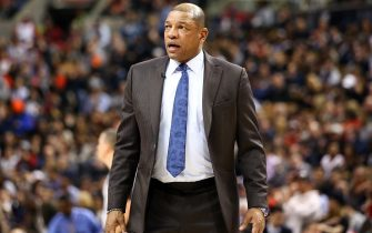 TORONTO, ON - DECEMBER 11:  Head Coach Doc Rivers of the Los Angeles Clippers speaks to an official during the second half of an NBA game against the Toronto Raptors at Scotiabank Arena on December 11, 2019 in Toronto, Canada.  NOTE TO USER: User expressly acknowledges and agrees that, by downloading and or using this photograph, User is consenting to the terms and conditions of the Getty Images License Agreement.  (Photo by Vaughn Ridley/Getty Images)