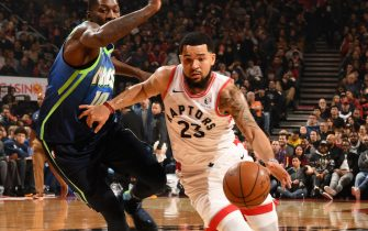 TORONTO, CANADA - DECEMBER 22: Fred VanVleet #23 of the Toronto Raptors handles the ball against the Dallas Mavericks on December 22, 2019 at the Scotiabank Arena in Toronto, Ontario, Canada.  NOTE TO USER: User expressly acknowledges and agrees that, by downloading and or using this Photograph, user is consenting to the terms and conditions of the Getty Images License Agreement.  Mandatory Copyright Notice: Copyright 2019 NBAE (Photo by Ron Turenne/NBAE via Getty Images)
