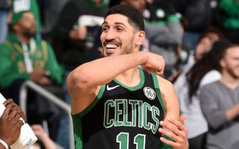 BOSTON, MA - DECEMBER 22: Enes Kanter #11 of the Boston Celtics smiles during a game against the Charlotte Hornets on December 22, 2019 at the TD Garden in Boston, Massachusetts.  NOTE TO USER: User expressly acknowledges and agrees that, by downloading and or using this photograph, User is consenting to the terms and conditions of the Getty Images License Agreement. Mandatory Copyright Notice: Copyright 2019 NBAE  (Photo by Brian Babineau/NBAE via Getty Images)