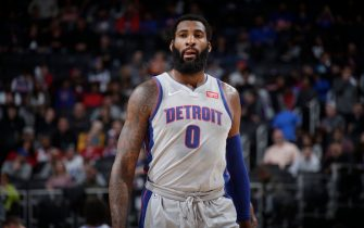 DETROIT, MI - DECEMBER 23: Andre Drummond #0 of the Detroit Pistons looks on during a game against the Philadelphia 76ers on December 23, 2019 at Little Caesars Arena in Detroit, Michigan. NOTE TO USER: User expressly acknowledges and agrees that, by downloading and/or using this photograph, User is consenting to the terms and conditions of the Getty Images License Agreement. Mandatory Copyright Notice: Copyright 2019 NBAE (Photo by Brian Sevald/NBAE via Getty Images)