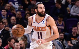 PHOENIX, AZ - DECEMBER 23: Ricky Rubio #11 of the Phoenix Suns handles the ball during the game against the Denver Nuggets on December 23, 2019 at Talking Stick Resort Arena in Phoenix, Arizona. NOTE TO USER: User expressly acknowledges and agrees that, by downloading and or using this photograph, user is consenting to the terms and conditions of the Getty Images License Agreement. Mandatory Copyright Notice: Copyright 2019 NBAE (Photo by Michael Gonzales/NBAE via Getty Images)