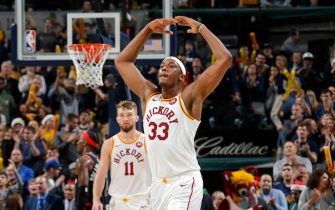 INDIANAPOLIS, IN - DECEMBER 23: Myles Turner #33 of the Indiana Pacers looks on during the game against the Toronto Raptors on December 23, 2019 at Bankers Life Fieldhouse in Indianapolis, Indiana. NOTE TO USER: User expressly acknowledges and agrees that, by downloading and or using this Photograph, user is consenting to the terms and conditions of the Getty Images License Agreement. Mandatory Copyright Notice: Copyright 2019 NBAE (Photo by Ron Hoskins/NBAE via Getty Images)