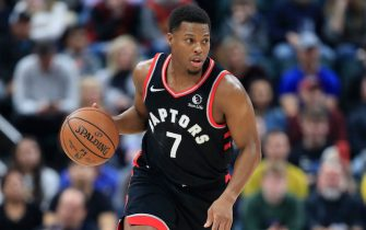INDIANAPOLIS, INDIANA - DECEMBER 23:   Kyle Lowry #7 of the Toronto Raptors dribbles the ball against the Indiana Pacers during the game at Bankers Life Fieldhouse on December 23, 2019 in Indianapolis, Indiana.    NOTE TO USER: User expressly acknowledges and agrees that, by downloading and or using this photograph, User is consenting to the terms and conditions of the Getty Images License Agreement. (Photo by Andy Lyons/Getty Images)