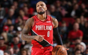 PORTLAND, OR - DECEMBER 23: Damian Lillard #0 of the Portland Trail Blazers handles the ball against the New Orleans Pelicans on December 23, 2019 at the Moda Center in Portland, Oregon. NOTE TO USER: User expressly acknowledges and agrees that, by downloading and or using this Photograph, user is consenting to the terms and conditions of the Getty Images License Agreement. Mandatory Copyright Notice: Copyright 2019 NBAE (Photo by Sam Forencich/NBAE via Getty Images)