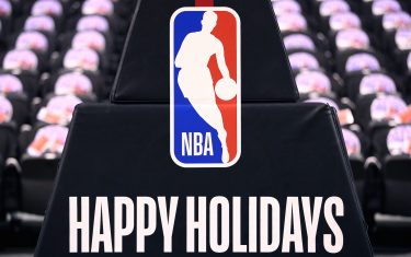 TORONTO, ON - DECEMBER 25:  Christmas branding on the basketball stantion prior to an NBA game between the Boston Celtics and the Toronto Raptors at Scotiabank Arena on December 25, 2019 in Toronto, Canada.  NOTE TO USER: User expressly acknowledges and agrees that, by downloading and or using this photograph, User is consenting to the terms and conditions of the Getty Images License Agreement.  (Photo by Vaughn Ridley/Getty Images)