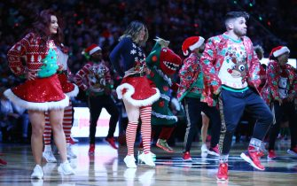 TORONTO, ON - DECEMBER 25:  The Northside Crew dance during the first half of an NBA game between the Boston Celtics and the Toronto Raptors at Scotiabank Arena on December 25, 2019 in Toronto, Canada.  NOTE TO USER: User expressly acknowledges and agrees that, by downloading and or using this photograph, User is consenting to the terms and conditions of the Getty Images License Agreement.  (Photo by Vaughn Ridley/Getty Images)