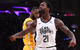 LOS ANGELES, CA - DECEMBER 25: Patrick Beverley #21 of the Los Angeles Clippers looks at the crowd after he blocked a shot by LeBron James #23 of the Los Angeles Lakers in the second half of the game at Staples Center on December 25, 2019 in Los Angeles, California. NOTE TO USER: User expressly acknowledges and agrees that, by downloading and/or using this Photograph, user is consenting to the terms and conditions of the Getty Images License Agreement. (Photo by Jayne Kamin-Oncea/Getty Images)