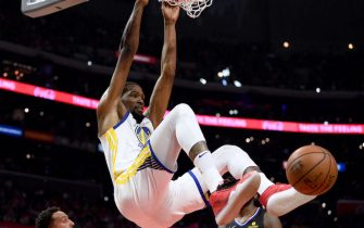 LOS ANGELES, CALIFORNIA - APRIL 21:  Kevin Durant #35 of the Golden State Warriors reacts to his dunk during a 113-105 win over the LA Clippers in Game Four of Round One of the 2019 NBA Playoffs  at Staples Center on April 21, 2019 in Los Angeles, California. (Photo by Harry How/Getty Images)  NOTE TO USER: User expressly acknowledges and agrees that, by downloading and or using this photograph, User is consenting to the terms and conditions of the Getty Images License Agreement.