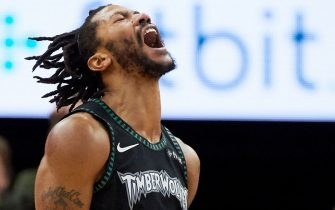 MINNEAPOLIS, MN - OCTOBER 31: Derrick Rose #25 of the Minnesota Timberwolves celebrates a play during the fourth quarter of the game against the Utah Jazz on October 31, 2018 at the Target Center in Minneapolis, Minnesota. Rose scored 50 points. The Timberwolves defeated the Jazz 128-125. NOTE TO USER: User expressly acknowledges and agrees that, by downloading and or using this Photograph, user is consenting to the terms and conditions of the Getty Images License Agreement. (Photo by Hannah Foslien/Getty Images)