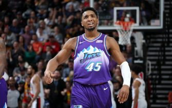 SALT LAKE CITY, UT - DECEMBER 26: Donovan Mitchell #45 of the Utah Jazz reacts during a game against the Portland Trail Blazers/ on December 26, 2019 at vivint.SmartHome Arena in Salt Lake City, Utah. NOTE TO USER: User expressly acknowledges and agrees that, by downloading and or using this Photograph, User is consenting to the terms and conditions of the Getty Images License Agreement. Mandatory Copyright Notice: Copyright 2019 NBAE (Photo by Melissa Majchrzak/NBAE via Getty Images)