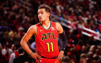HOUSTON, TX - NOVEMBER 30: Trae Young #11 of the Atlanta Hawks looks on against the Houston Rockets on November 30, 2019 at the Toyota Center in Houston, Texas. NOTE TO USER: User expressly acknowledges and agrees that, by downloading and or using this photograph, User is consenting to the terms and conditions of the Getty Images License Agreement. Mandatory Copyright Notice: Copyright 2019 NBAE (Photo by Cato Cataldo/NBAE via Getty Images)