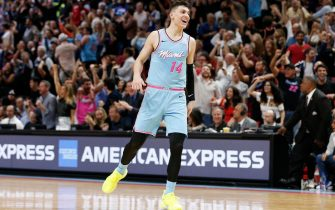 MIAMI, FLORIDA - DECEMBER 28:  Tyler Herro #14 of the Miami Heat celebrates after making a three pointer with 6.9 seconds remaining in regulation against the Philadelphia 76ers during the second half at American Airlines Arena on December 28, 2019 in Miami, Florida. NOTE TO USER: User expressly acknowledges and agrees that, by downloading and/or using this photograph, user is consenting to the terms and conditions of the Getty Images License Agreement. (Photo by Michael Reaves/Getty Images)