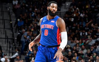SAN ANTONIO, TX - DECEMBER 28: Andre Drummond #0 of the Detroit Pistons handles the ball against the San Antonio Spurs on December 28, 2019 at the AT&T Center in San Antonio, Texas. NOTE TO USER: User expressly acknowledges and agrees that, by downloading and or using this photograph, user is consenting to the terms and conditions of the Getty Images License Agreement. Mandatory Copyright Notice: Copyright 2019 NBAE (Photos by Logan Riely/NBAE via Getty Images)