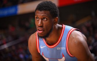 CHICAGO, IL - DECEMBER 28: Thaddeus Young #21 of the Chicago Bulls looks on during the game against the Atlanta Hawks on December 28, 2019 at the United Center in Chicago, Illinois. NOTE TO USER: User expressly acknowledges and agrees that, by downloading and or using this photograph, user is consenting to the terms and conditions of the Getty Images License Agreement.  Mandatory Copyright Notice: Copyright 2019 NBAE (Photo by Bill Baptist/NBAE via Getty Images)