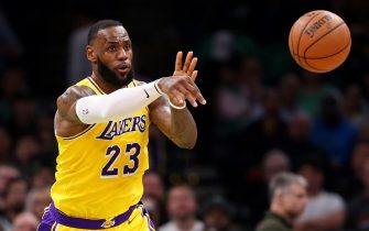 BOSTON, MASSACHUSETTS - FEBRUARY 07: LeBron James #23 of the Los Angeles Lakers makes a pass during the second half against the Boston Celtics at TD Garden on February 07, 2019 in Boston, Massachusetts. NOTE TO USER: User expressly acknowledges and agrees that, by downloading and or using this photograph, User is consenting to the terms and conditions of the Getty Images License Agreement. (Photo by Maddie Meyer/Getty Images)