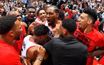 TORONTO, CANADA - MAY 12: Kawhi Leonard #2 of the Toronto Raptors reacts after defeating the Philadelphia 76ers in Game Seven of the Eastern Conference Semi-Finals of the 2019 NBA Playoffs on May 12, 2019 at the Scotiabank Arena in Toronto, Ontario, Canada.  NOTE TO USER: User expressly acknowledges and agrees that, by downloading and or using this Photograph, user is consenting to the terms and conditions of the Getty Images License Agreement.  Mandatory Copyright Notice: Copyright 2019 NBAE (Photo by Jesse D. Garrabrant/NBAE via Getty Images)