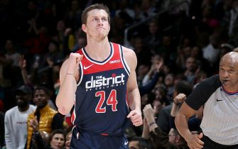 WASHINGTON, DC - DECEMBER 30: Garrison Mathews #24 of the Washington Wizards reacts to a play against the Miami Heat on December 30, 2019 at Capital One Arena in Washington, DC. NOTE TO USER: User expressly acknowledges and agrees that, by downloading and or using this Photograph, user is consenting to the terms and conditions of the Getty Images License Agreement. Mandatory Copyright Notice: Copyright 2019 NBAE (Photo by Stephen Gosling/NBAE via Getty Images)