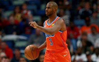 NEW ORLEANS, LOUISIANA - DECEMBER 01: Chris Paul #3 of the Oklahoma City Thunder dribbles the ball down court during a NBA game against the New Orleans Pelicans at Smoothie King Center on December 01, 2019 in New Orleans, Louisiana. NOTE TO USER: User expressly acknowledges and agrees that, by downloading and or using this photograph, User is consenting to the terms and conditions of the Getty Images License Agreement. (Photo by Sean Gardner/Getty Images)