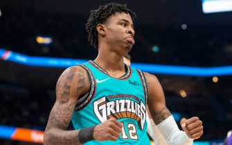 MEMPHIS, TN - NOVEMBER 23: Ja Morant #12 of the Memphis Grizzlies reacts during the game against the Los Angeles Lakers at FedExForum on November 23, 2019 in Memphis, Tennessee. NOTE TO USER: User expressly acknowledges and agrees that, by downloading and/or using this photograph, user is consenting to the terms and conditions of the Getty Images License Agreement. (Photo by Brandon Dill/Getty Images)