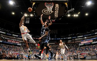ORLANDO, FL - DECEMBER 30: Brandon Goodwin #0 of the Atlanta Hawks shoots the ball against the Orlando Magic on December 30, 2019 at Amway Center in Orlando, Florida. NOTE TO USER: User expressly acknowledges and agrees that, by downloading and or using this photograph, User is consenting to the terms and conditions of the Getty Images License Agreement. Mandatory Copyright Notice: Copyright 2019 NBAE (Photo by Fernando Medina/NBAE via Getty Images)