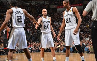 SAN ANTONIO, TX - JUNE 16: Kawhi Leonard #2, Manu Ginobili #20 and Tim Duncan #21 of the San Antonio Spurs prepares against the Miami Heat during Game Five of the 2013 NBA Finals on June 16, 2013 at AT&T Center in San Antonio, Texas. NOTE TO USER: User expressly acknowledges and agrees that, by downloading and or using this photograph, User is consenting to the terms and conditions of the Getty Images License Agreement. Mandatory Copyright Notice: Copyright 2013 NBAE (Photo by Jesse D. Garrabrant/NBAE via Getty Images)
