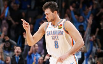 OKLAHOMA CITY, OK- DECEMBER 16: Danilo Gallinari #8 of the Oklahoma City Thunder reacts to a made three point basket during a game against the Chicago Bulls on December 16, 2019 at Chesapeake Energy Arena in Oklahoma City, Oklahoma. NOTE TO USER: User expressly acknowledges and agrees that, by downloading and or using this photograph, User is consenting to the terms and conditions of the Getty Images License Agreement. Mandatory Copyright Notice: Copyright 2019 NBAE (Photo by Zach Beeker/NBAE via Getty Images)
