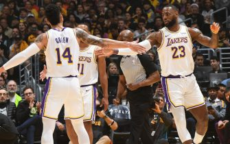 LOS ANGELES, CA - JANUARY 1: Danny Green #14, and LeBron James #23 of the Los Angeles Lakers hi-five each other during the game against the Phoenix Suns on January 1, 2020 at STAPLES Center in Los Angeles, California. NOTE TO USER: User expressly acknowledges and agrees that, by downloading and/or using this Photograph, user is consenting to the terms and conditions of the Getty Images License Agreement. Mandatory Copyright Notice: Copyright 2020 NBAE (Photo by Andrew D. Bernstein/NBAE via Getty Images)