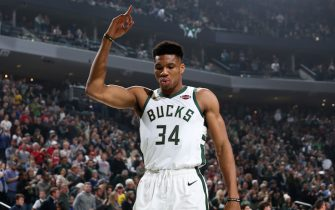 MILWAUKEE, WI - JANUARY 1: Giannis Antetokounmpo #34 of the Milwaukee Bucks reacts prior to a game against the Minnesota Timberwolves on January 1, 2020 at the Fiserv Forum Center in Milwaukee, Wisconsin. NOTE TO USER: User expressly acknowledges and agrees that, by downloading and or using this Photograph, user is consenting to the terms and conditions of the Getty Images License Agreement. Mandatory Copyright Notice: Copyright 2020 NBAE (Photo by Gary Dineen/NBAE via Getty Images).
