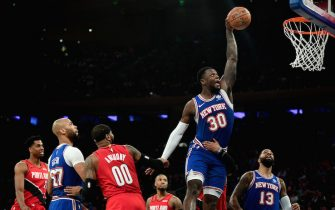 NEW YORK, NEW YORK - JANUARY 01: Julius Randle #30 of the New York Knicks attempts a shot during the second half against the Portland Trail Blazers at Madison Square Garden on January 01, 2020 in New York City. NOTE TO USER: User expressly acknowledges and agrees that, by downloading and or using this photograph, User is consenting to the terms and conditions of the Getty Images License Agreement. (Photo by Emilee Chinn/Getty Images)