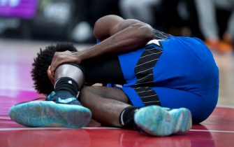WASHINGTON, DC - JANUARY 01: Jonathan Isaac #1 of the Orlando Magic is injured against the Washington Wizards during the first half at Capital One Arena on January 1, 2020 in Washington, DC. NOTE TO USER: User expressly acknowledges and agrees that, by downloading and or using this photograph, User is consenting to the terms and conditions of the Getty Images License Agreement. (Photo by Scott Taetsch/Getty Images)