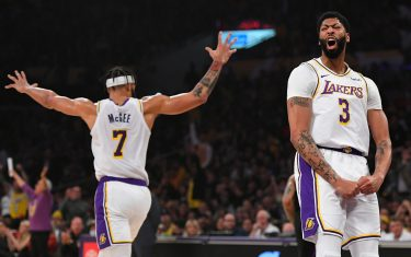 LOS ANGELES, CA - JANUARY 01: JaVale McGee #7 and Anthony Davis #3 of the Los Angeles Lakers celebrate while playing the Phoenix Suns at Staples Center on January 1, 2020 in Los Angeles, California. NOTE TO USER: User expressly acknowledges and agrees that, by downloading and/or using this photograph, user is consenting to the terms and conditions of the Getty Images License Agreement. (Photo by John McCoy/Getty Images)