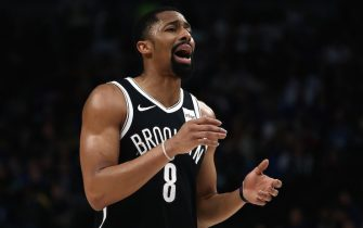 DALLAS, TEXAS - JANUARY 02:  Spencer Dinwiddie #8 of the Brooklyn Nets at American Airlines Center on January 02, 2020 in Dallas, Texas.  NOTE TO USER: User expressly acknowledges and agrees that, by downloading and or using this photograph, User is consenting to the terms and conditions of the Getty Images License Agreement. (Photo by Ronald Martinez/Getty Images)