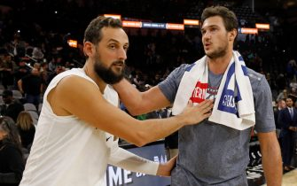 SAN ANTONIO, TX - NOVEMBER 07: Marco Belinelli #18 of the San Antonio Spurs talks with Danilo Gallinari #8 of the Oklahoma City Thunder after an NBA game on November 7, 2019 at the AT&T Center in San Antonio, Texas. The Spurs won 121-112. NOTE TO USER: User expressly acknowledges and agrees that, by downloading and or using this photograph, User is consenting to the terms and conditions of the Getty Images License Agreement.  (Photo by Edward A. Ornelas/Getty Images)