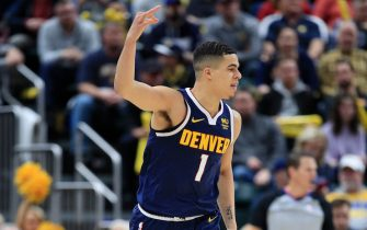 INDIANAPOLIS, INDIANA - JANUARY 02:  Michael Porter Jr #1 of the Denver Nuggets celebrates after making a three point shot during the game against the  Indiana Pacers at Bankers Life Fieldhouse on January 02, 2020 in Indianapolis, Indiana.    NOTE TO USER: User expressly acknowledges and agrees that, by downloading and or using this photograph, User is consenting to the terms and conditions of the Getty Images License Agreement. (Photo by Andy Lyons/Getty Images)